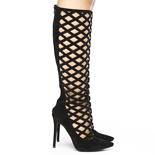 HAILEY Womens Lasercut Dressy Knee Boots