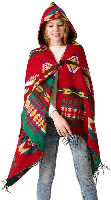 Poncho Con Cappuccio Donna Vintage Pashmina Inverno Etnico Sciarpa A Quadri Elegante Boho Hippie Scialli Con Frange Nappa Mantello Scialle Oversize Stole