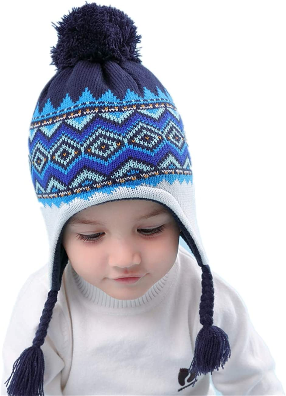 LLmoway Baby Toddler Winter Warm Hat with Ear Flaps Kid Fleece Knit Beanie Hats