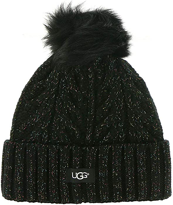 9839d75601a UGG Women s Cable Knit Pom Beanie Black Multi Metallic Plaited One Size