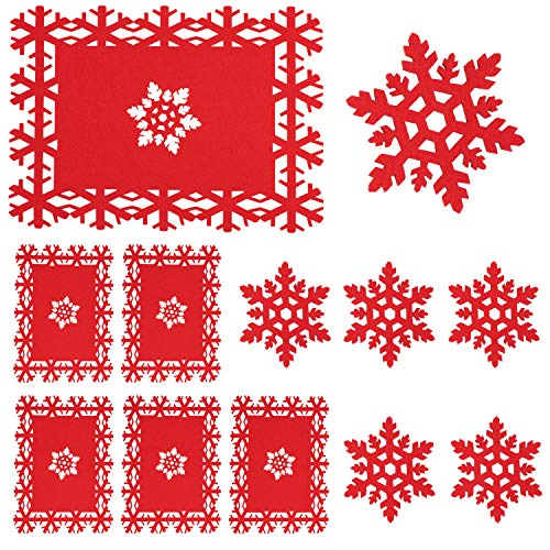 Whaline 12 Pack Christmas Table Place Mats and Coaster, Red Snowflake Design Set for Christmas Party Winter Holiday Wedding Dinner Decoration (For Decorate Christmas Table)