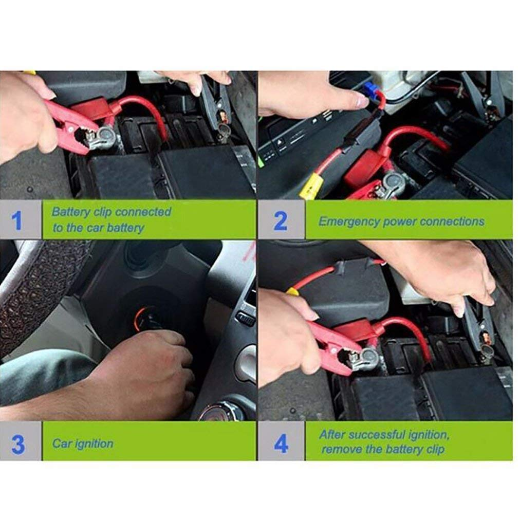 wasserdicht 9000Mah 4USB EU // UK Stecker 4LED Auto Starter Notfall Batterie Booster mit digitalem Bildschirm - Gelb tragbare Auto Starter Auto Starthilfe
