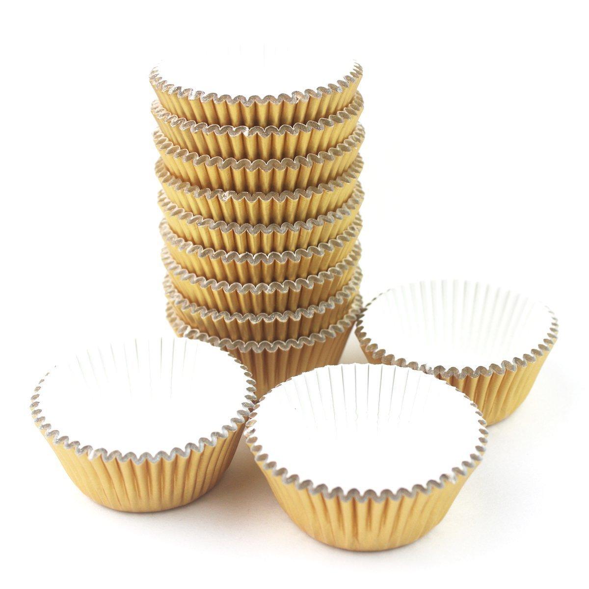SODIAL Mini Foil Paper Cupcake Cup Liners / Baking Cups 300 Pcs (Gold) 7.5*4.8*3cm Aluminum foil + paper