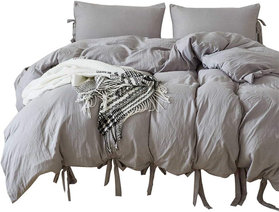 iAsteria Super Soft Duvet Cover Set, Lightweight Microfiber, Luxury Farmhouse Bedding Set, Modern Pattern Design, 3 Piece - King, Grey