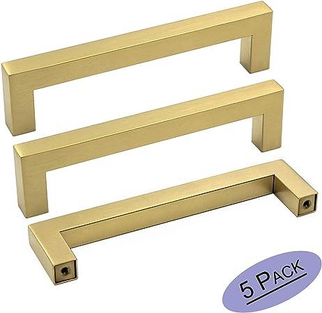 goldenwarm Brass Kitchen Cabinet Handles Modern Drawer Pulls ...