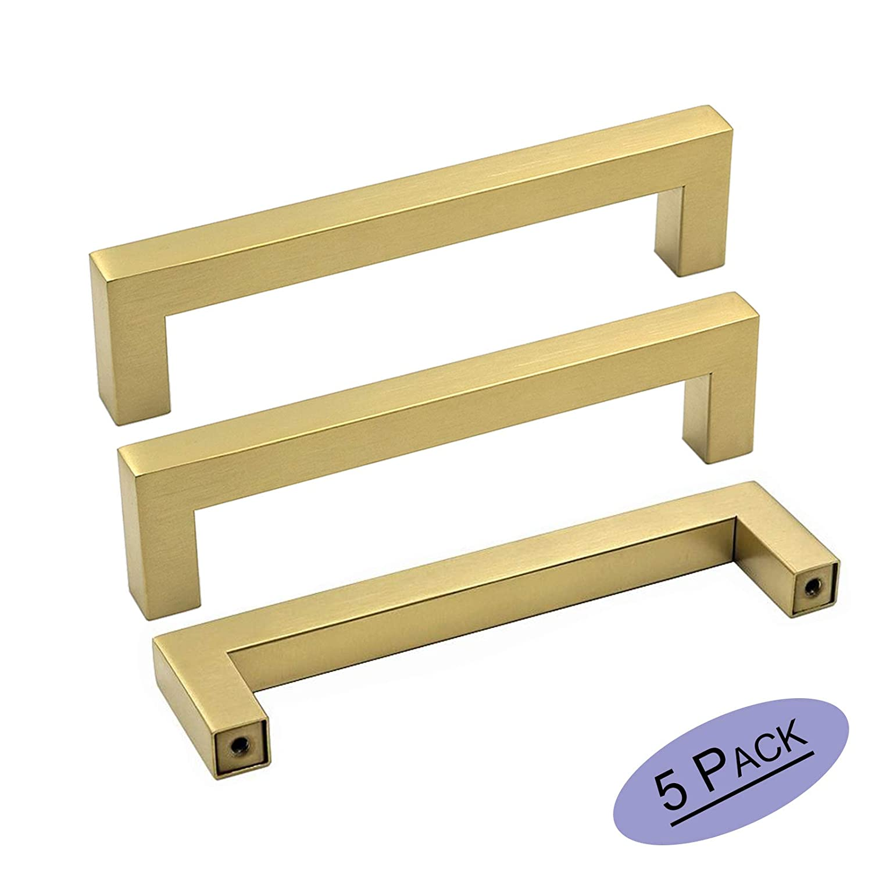 goldenwarm Brass Kitchen Cabinet Handles Modern Drawer Pulls - LSJ12GD160 Contemporary Cabinet Hardware Handle Pull 5 Pack 6-1/4 Inch Hole Center Gold Drawer Handles