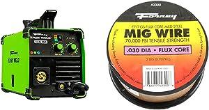 Forney Easy Weld 140 MP, Multi-Process Welder & 42300 Flux Core Mig Wire, Mild Steel E71TGS.030-Diameter, 2-Pound Spool, Silver, Pack of 1