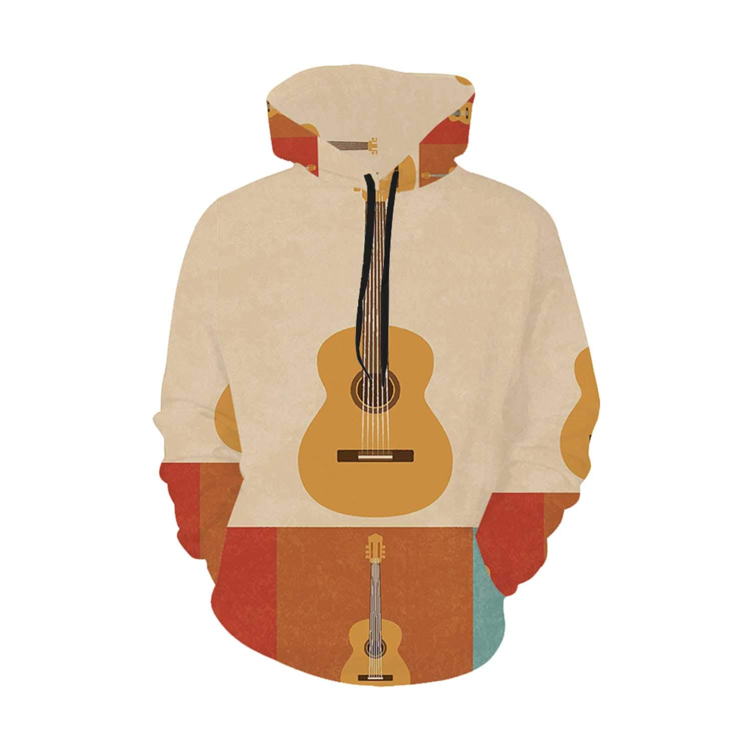 Guitar Comfortable Hoodie,Retro Icons Acoustic Guitars in Colorful Frames Nostalgic Music Stringed Instrument Decorative for Leisure,M by C COABALLA