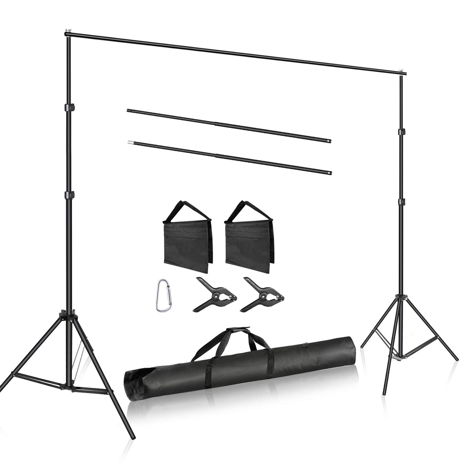 Neewer Photo Studio Adjustable 10ft/3m Wide Cross Bar 6.6ft/2m Tall Background Stand Backdrop Support System with 2 Backdrop Clamps, 2 Sandbags and Carry Bag for Portrait Product Video Shooting