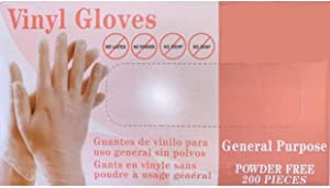Vinyl Gloves|Box of 200| Followed FDA Rules, Powder-Free, Non-Sterile, No Latex, No DEHP Suitable for Grocery Shopping and Everyday use 200 Pcs Advance Powder-Free Latex Industrial Gloves, (Large)