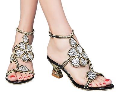 7a7b0fdc81d jiandick Womens Floral Rhinestone Chunky Heels Evening Party Dress Low  Heeled Sandals Black