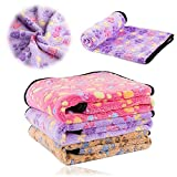 kiwitatá Super Soft Pet Dog Cat Blanket Premium Fluffy Fleece Dog Throw Blanket with Cute Pet Paw Prints for Couch,Car,Trunk,Cage,Kennel,Dog House(L,41'' x 30'')