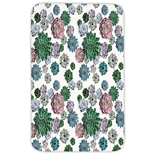 Rectangular Area Rug Mat Rug,Cactus Decor,Colorful Pattern of Succulent Plants Tropical Foliage Natural Garden Decor Decorative,Multicolor,Home Decor Mat with Non Slip Backing by iPrint