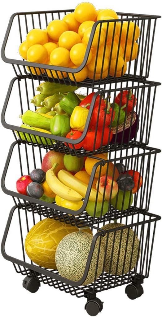 Haturi Rolling Stackable Baskets, 4 Tiers Wire Organizer Basket with Lockable Casters, Fruit Vegetable Produce Metal Storage Bin for Kitchen, Pantry, Bathroom, Garage (Black)