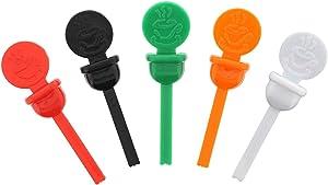 StixToGo Variety Pack Circle Beverage Plug for Disposable Lids, Red, Green, Orange, Black & White, Case of 2000