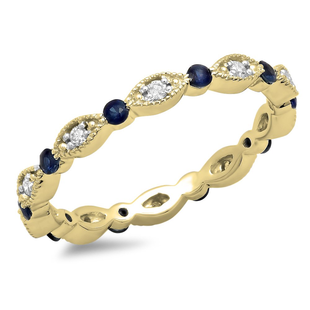 10K Yellow Gold Round Blue Sapphire & White Diamond Wedding Eternity Stackable Band (Size 5)