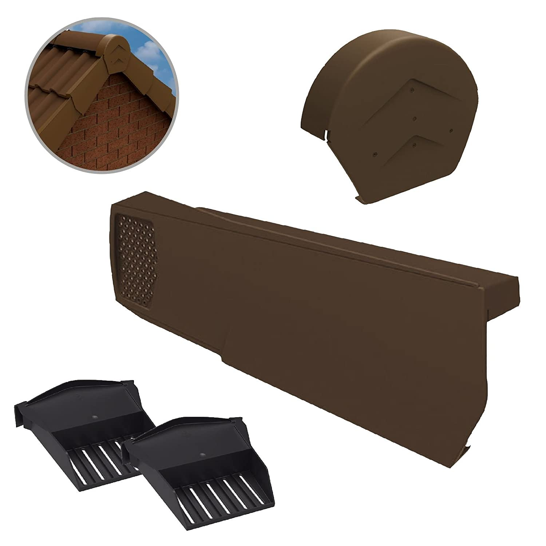 28 x Universal Brown Dry Verge Units, Round Ridge Cap & 2 x Starter Closure Kits Home.smart