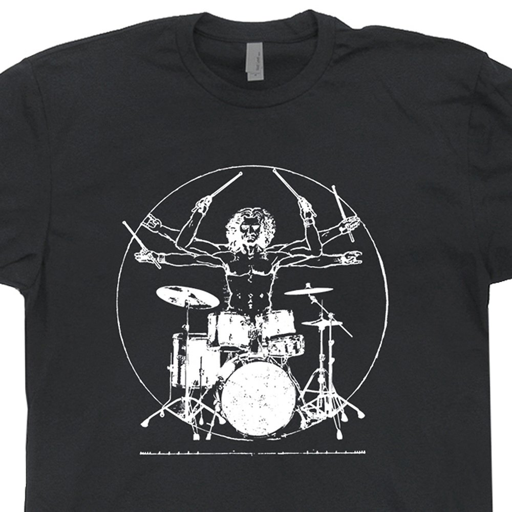 S - Da Vinci Drums T Shirts Rock Drummer Shirt Vitruvian Man Vintage Rock Band Drumming Tshirt