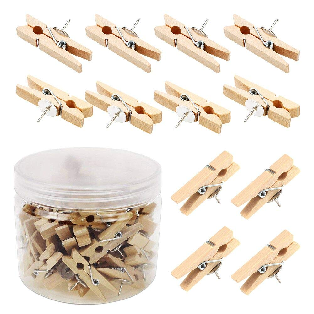 Push Pins with Wooden Clips 50Pcs Thumbtacks Pushpins Creative Paper Clips Clothespins Multicolor for Cork Board and Photo Wall Offices Home Schools Use