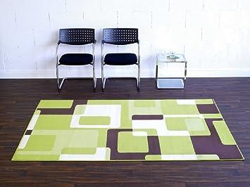 Teppich Retro grün beige braun Wohnteppich Teppich moderner ...