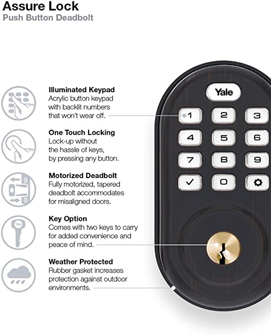 Yale Assure Lock Keypad Door Lock In Bronze Amazon Com