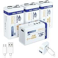 Melasta USB 9 V 600 mAh batterij oplaadbaar Li-Ion 6F22 PP3 MN1604 6LR61 9V batterijen met USB-kabel voor toetsenbord…