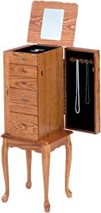 Amazon.com: Bernards Small Jewelry Armoire, Oak: Home ...