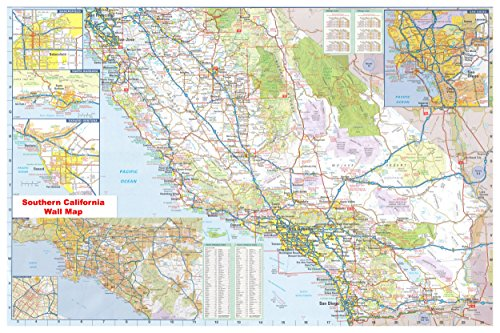 36x54 Southern California Official Executive Laminated Wall Map (Best Golf In Southern California)