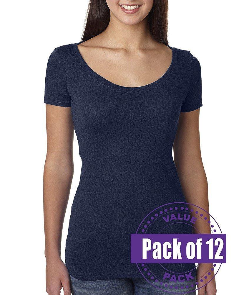 12 Pack Next Level Womens Tri-Blend Scoop Tee 6730-Vintage Navy
