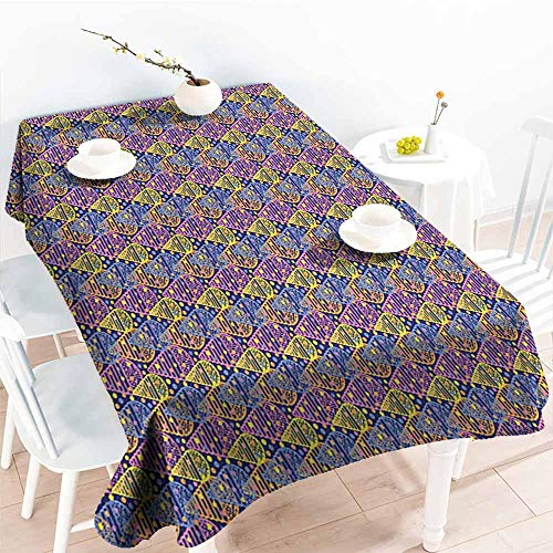 familytaste Geometric,Microfiber Tablecloth Memphis Style Eighties Inspirations in