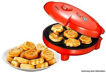 Melissa Máquina para hacer pasteles galletas (1000W, 7 moldes de diversos diseños, magdalenas, tortitas, pastitas y otros pastelitos) Rojo: Amazon.es: Hogar