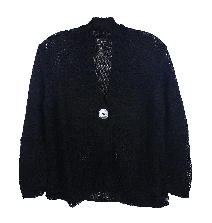 Pure Handknit Womens Black Easy To Love Cardigan