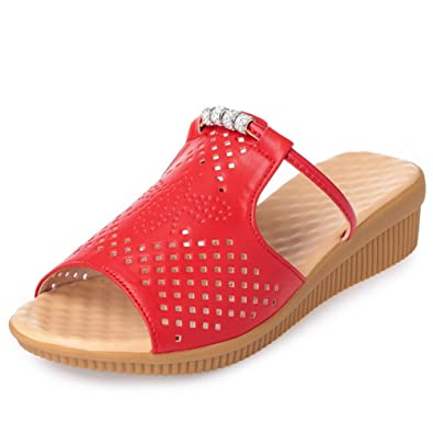 JITIAN Casual Wedge Sandals for Women Summer Soft Anti-Slip Slide Platforms Shoes aW2qd