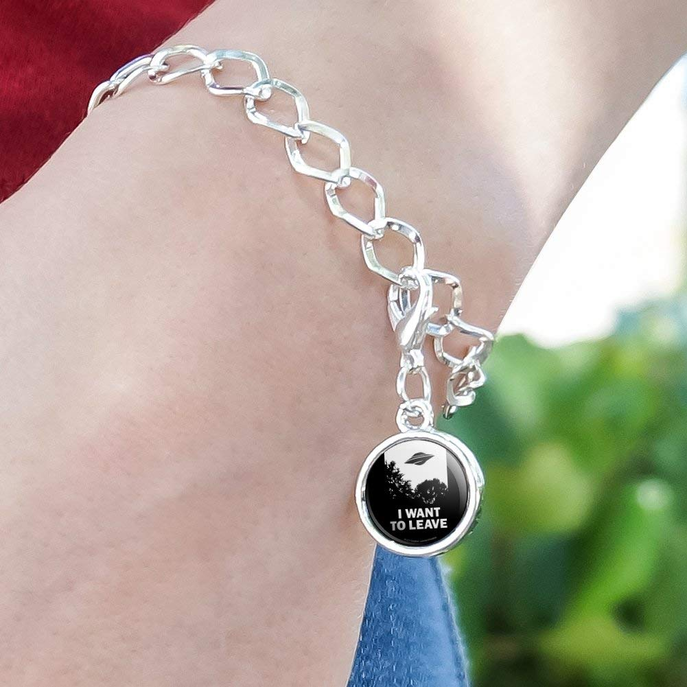 GRAPHICS /& MORE I Want to Leave UFO Believe Funny Humor Silver Plated Bracelet with Antiqued Charm