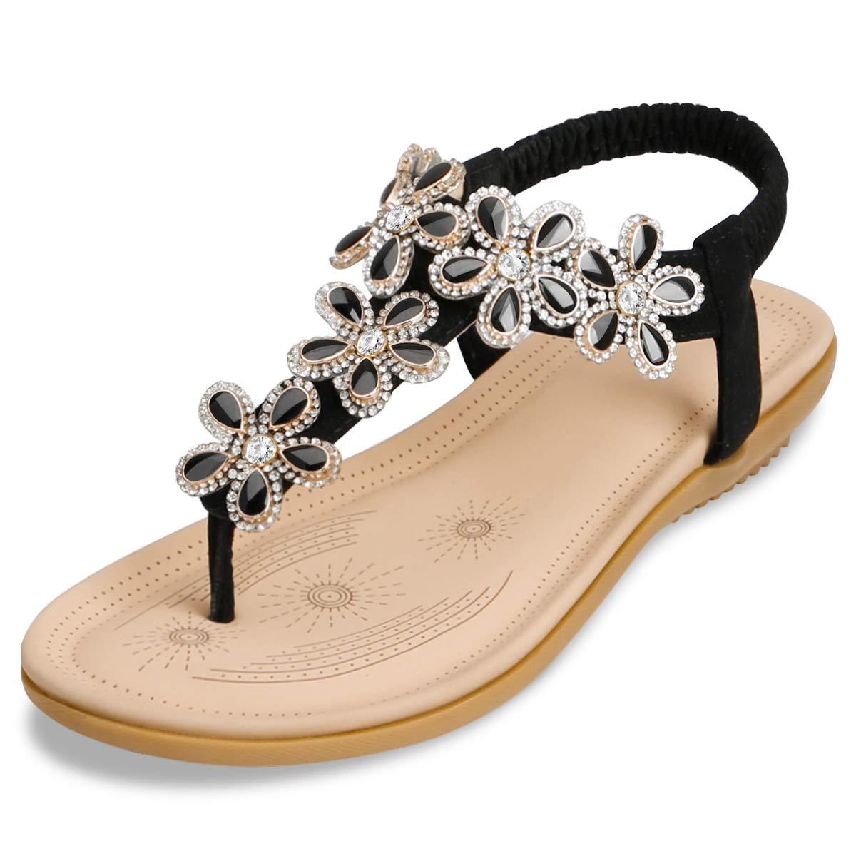 d7e8487d121c03 ZOEREA Sandales Plates Femme Mode Été Bohème Strass Fleurs Cuir PU Tongs  Peep Toe Confortables Femmes