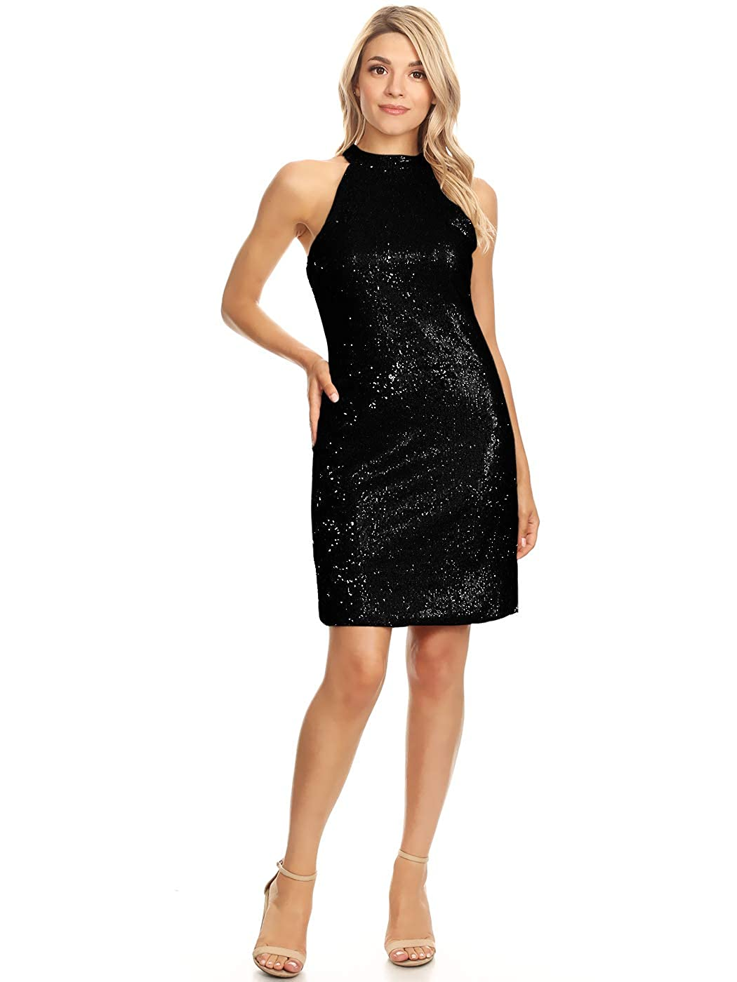 8cba4566a SPARKLING HIGH NECK HALTER PENCIL SHIFT DRESS. A comfy slightly loose  bodycon fit party dress with a hidden zipper back and two faux pearl toggle  fastenings ...