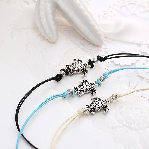 Sunhusing Womens Vintage Wax Rope Turtle Anklet Bracelet Turtle Beach Foot Chain Anklets Bracelet Jewelry