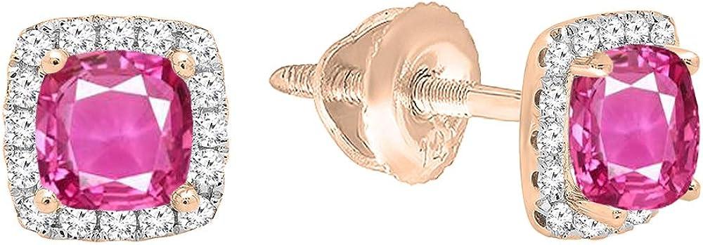 18K oro rosa piedra cojín corte y corte redondo diamante señoras de Halo Stud Pendientes