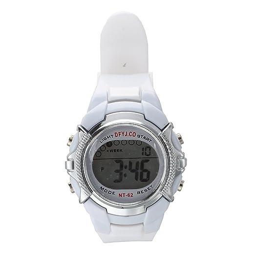 SODIAL (R) Unisex deportes Digital reloj de pulsera alarma fecha luz LED multifunción Niño Reloj Blanco: Amazon.es: Relojes