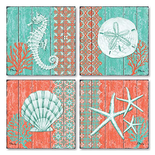 (Gango Home Décor 4 Lovely Teal and Coral Ocean Seashell Sand Dollar Seahorse Star Fish Collage; Nautical Decor; Four 8x8 Inch Mounted Prints; Ready to Hang!)