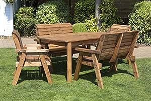 Juego de 6–hecho a mano rústico de madera muebles de jardín mesa y sillas Set