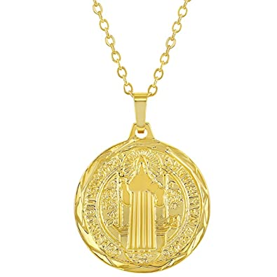 2d5d9a66835 Image Unavailable. Image not available for. Color: In Season Jewelry 18k  Gold Plated Reversible St Benedict Religious Medal Pendant ...