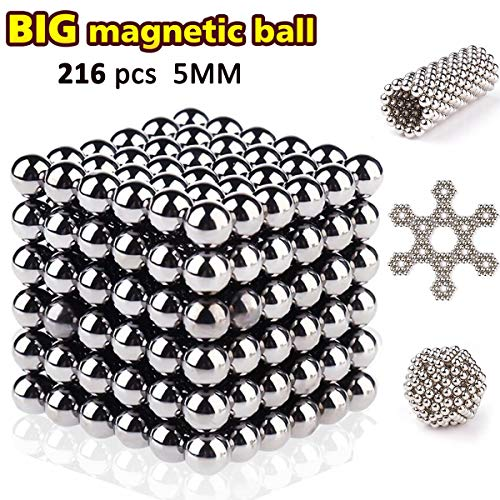 HAJUGADOR 5MM Magnets Sculpture Building Blocks Toys for Intelligence Learning, Stress Relief & Gift for Adults (Silver, 216 Pieces)