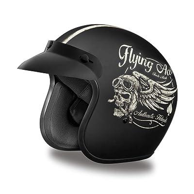 Daytona Helmets Motorcycle Open Face Helmet Cruiser- Flying Ace's 100% DOT Approved: Automotive