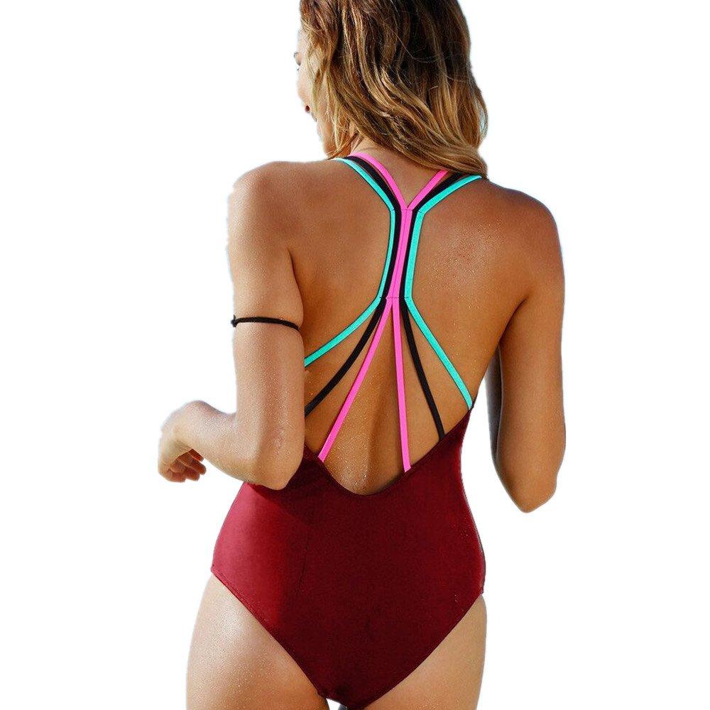 Women Swimsuit Teen Girls One Piece Solid Cross Bandage Padded Monokini Set Swimwear Beachwear (S, Wine Red)