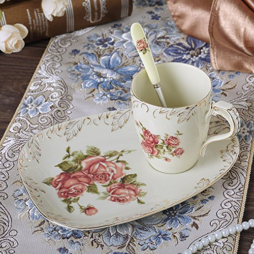 Panbado 3-Piece Creative European Hand Painted Ivory Porcelain Coffee Tea Set Gold Rimmed China Flower Tea Service with 10 Ounce 4.5