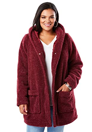 efef4fd71a Roamans Women s Plus Size Hooded Textured Fleece Coat at Amazon ...