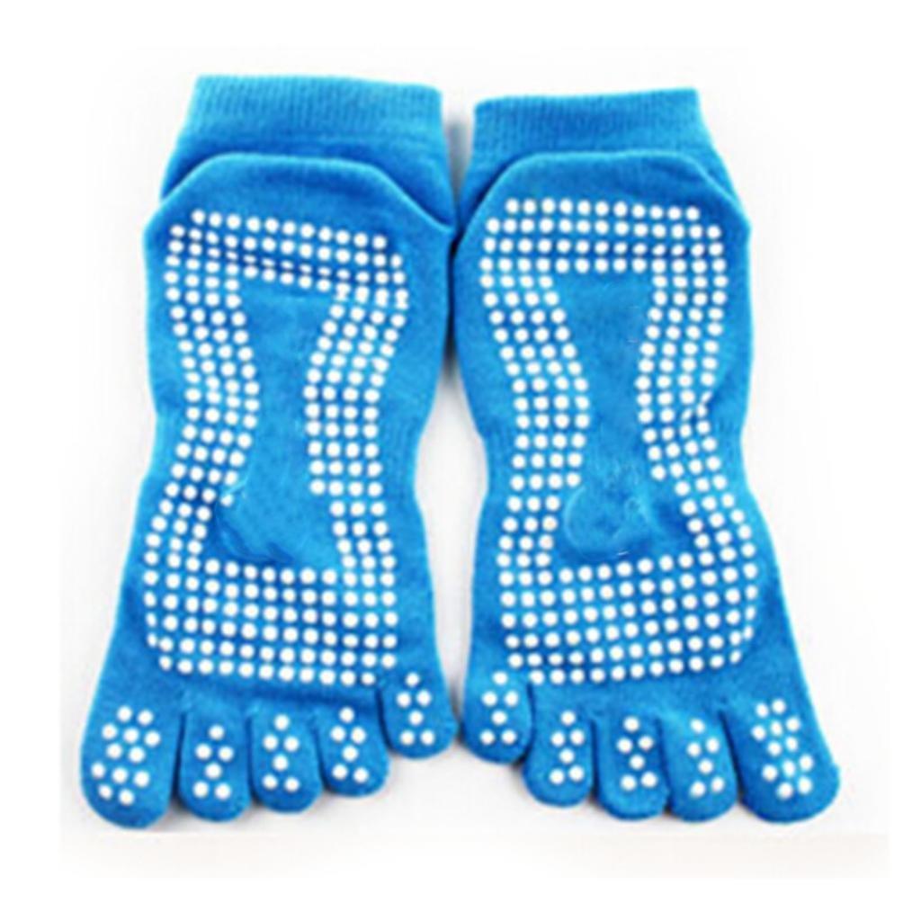 DDU Nouveau Gym Sport exercice de yoga chaussette antidérapant en coton Blue