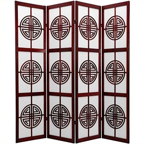 Oriental Furniture 6-Feet Long Life Japanese Folding Shoji Screen with Chinese Symbol Lattice, 4 Panel Rosewood