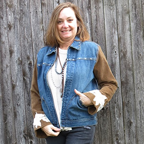 Soft Wide Whale Carmel Corduroy + Lace Sleeved Mixed Media Zip Denim Jacket by Diana by design